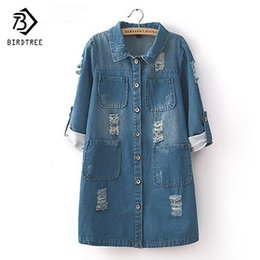 roll up jeans Australia - New Fashion Spring Autumn Women Sleeve Roll Up Jeans Coat Female Casual Ripped Long Denim Jacket Outerwear 5xl T52920MX190821