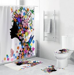 shower curtains flowers Canada - Luxury Bathroom Curtain Shower Set Polyester Digital Printing Pattern Flower Girl Bathroom Curtain Carpet Toilet Mat 2020 Rug Accessories