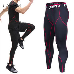 Tight Plus Sized Leggings Australia - Laamei High Elastic Fitness Leggings Men Compression Bodybuilding Tights Male Quick Dry Skinny Pant Breathable Plus Size Trouser