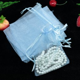 $enCountryForm.capitalKeyWord NZ - Wholesale 100pcs lot,Drawable Light Blue Small Organza Bags 9x12 cm, Favor Wedding Gift Packing Bags,Packaging Jewelry Pouches