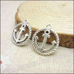 Vintage anchors necklace online shopping - 150pcs Vintage Charms Anchors Pendant Antique silver Fit Bracelets Necklace DIY Metal Jewelry Making