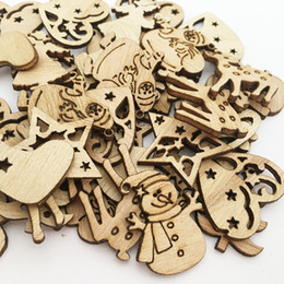 Wooden tree decorations online shopping - 50PCS DIY Natural Wooden Chip Christmas Tree Hanging Ornaments Pendant Kids Gifts Snowman Tree Shape Xmas Ornaments Decorations