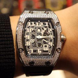 Cheap diamond bezel watChes online shopping - Best Edition Extra Flat Steel Case Diamond Bezel Skeleton Dial Japan Miyota Automatic Mens Watch Rubber Cheap Timezonewatch Cool E10