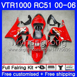 rc51 fairing kit Australia - Kit For HONDA VTR1000 RC51 SP1 SP2 00 01 02 03 04 05 06 257HM.0 RTV1000 VTR 1000 2000 2001 2002 2003 2004 2005 2006 Fairing Factory red blk