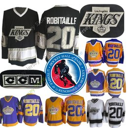 Time jerseys online shopping - 20 Luc Robitaille Jersey With Ice Hockey Hall Of Fame Patch Los Angeles Kings CCM Old Time Jersey Yellow Gold Purple Black White
