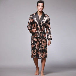 Wholesale mens long robes for sale - Group buy mens sleepwear rayon long robes ice silk pajamas L XL XL XL