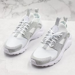 Half sport sHoe online shopping - 2019 Huarache Men Women Running Shoes All White Huraches Zapatos Ultraa Breathe Huaraches Mens Trainers WIth Half Size Sports Sneakers