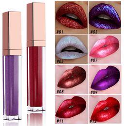 Lip gLosses 24 online shopping - Shine Metal Lip Gloss Makeup colors Shimmer Waterproof Lipstick Long Lasting hours Lip Gloss Metallic Effect
