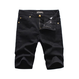 Chinese  Italian luxury fashion design men rip torn riding denim shorts slim monogrammed black motorcycle jeans hot pants style personality old jeans manufacturers