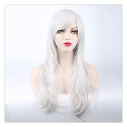 Long Hair Oblique Bangs Australia - Women 70cm Long Curly Hair Sexy Cosplay Wig Oblique Bang Heat Resistant synthetic fiber Hair Ombre Body Wave