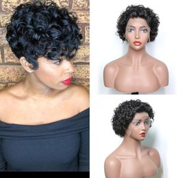 Indian Remy Glueless Full Lace Wigs NZ - 10inch Human Hair Short Bob Front Lace wigs Curly 150% Density Raw Virgin Indian Glueless Full Lace Wigs Bleach Knot Remy Hair Wig