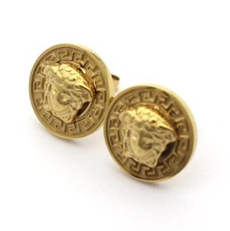 Discount 18k yellow gold earrings - New Arrival HipHop Style Famous Designer Earrings Studs Titanium Steel 18K Gold Plated Earrings For Party Gift