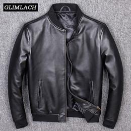 Genuine leather pilot online shopping - Aviation Genuine Leather Short Bomber Jacket Men Pilot Sheepskin Real Leather Jacket Slim Large Size XL Coats Veste Cuir Homme