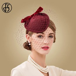 cocktail veil NZ - FS Wine Red Wedding Fascinators Hats For Women Elegant Formal Church Wool Felt Pillbox Hat With Veils Lady Derby Cocktail Fedora T200508