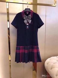 English Dresses NZ - splice stripe Plaid short-sleeved cotton classic long skirt English style 2019 summer new thin women's dress casual fashion brand 26