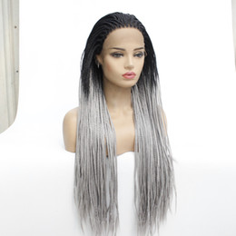 $enCountryForm.capitalKeyWord Australia - Ombre Grey Braided Wigs For White Women Synthetic Heat Resistant Fiber Box Braiding Hair Glueless Silver Gray Braided Wigs With Baby Hairs