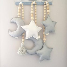 girls nursery decorations UK - Baby Nursery Room Decoration INS Nordic Style Stars Pendant Wooden Beads Strings Toys Kids Crib Tent Decor Ornaments 72XC