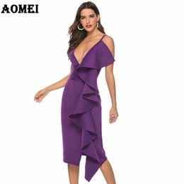 EvEning dinnEr wEar online shopping - Women Dress Deep V Neck Evening Party Ruffles Sexy Dinner Clubwear Backless Ladies Slim Tunics Elegant Tight Spring
