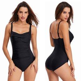 $enCountryForm.capitalKeyWord Australia - Vintage One Piece Swimsuit Women Swimwear Solid Monokini Retro Bodysuit Female Beach Wear Black Beach Bathing Suit Binikis Women Swim Suit