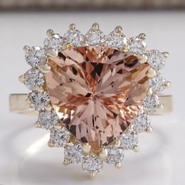 $enCountryForm.capitalKeyWord Australia - European fashion luxury champagne triangle Crystal Princess ring set with zircon CZ Party Jewelry exquisite gift women's rings