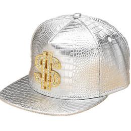 $enCountryForm.capitalKeyWord Australia - Faux Leather Snapback Baseball Caps Diamond dollar Sign Gold Crocodile Snap Back Hat Men Women Sports DJ Hiphop Hats