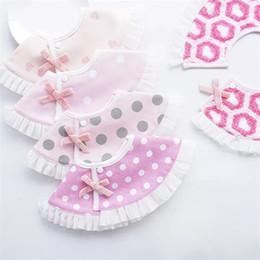 $enCountryForm.capitalKeyWord Australia - Infant Girl Round Bibs Toddler Cotton Clothing Accessories Baby Feeding Scarf Ruffled Princess Pink Color Bib Kids Burp Cloths