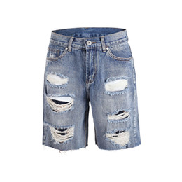 29c55e55047a High Street Mens Denim Shorts Fashion Ripped Broken Jeans for Summer 2019  Hot Sale Washed Shorts 2 Colors