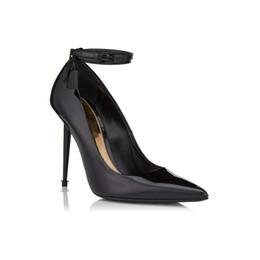 Media Keys Australia - Free Shipping 2019 wedding party Ladies patent leather Metal Stiletto high heel Pillge pointed toes Tom Dress Shoes Metal Lock key black 01