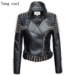 Studded jacketS online shopping - New Autumn fashion women rivet motorcycle PU faux leather spike studded jacket outerwear streetwear jackets