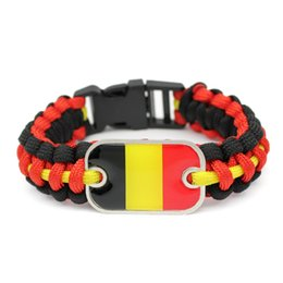 Camp Charms Australia - Black Red Yellow Umbrella Rope Bracelet Glass Rectangle Belgium National Flag Outdoor Camping Survival Paracordo Charm Jewelry For Women Men