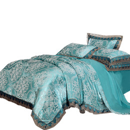 $enCountryForm.capitalKeyWord UK - High Quality Jacquard Bedding Queen Extra Large Lace Down Quilt Cover Silk and Cotton Set