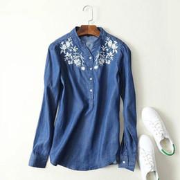 $enCountryForm.capitalKeyWord Australia - 2019 Spring Clothes New Pattern Fashion Wind Small Fresh Temperament Flower Pattern Embroidery Tencel Cowboy Shirt