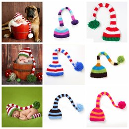 CroChet hat long tail online shopping - Handmade Knit Santa Hat Crochet Baby Xmas caps Baby Boy Girl Christmas Pompom Hat Infant Long Tail Stripe Beanies party prop hats FFA3131