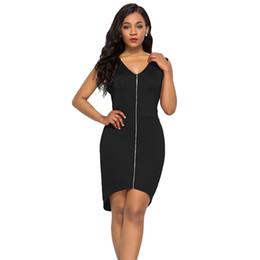 Plus Size Irregular Hem Dress NZ - Women Plus Size Bodycon Dress Sleeveless V-Neck Zip Front Irregular Hem Summer Dress Elegant Slim Mini Party Sundress Burgundy