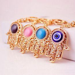 Hand Chain Ring Australia - Lucky Charm Amulet Hamsa Fatima Hand Evil Eye Keychain Purse Bag Buckle Pendant Key ring key chain Wedding Favors + DHL free shipping