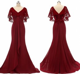 $enCountryForm.capitalKeyWord Australia - New Dark Red Juliet Short Sleeve Mother Of The Bride Dresses 2019 Lace Draped Pleats V-neck Chiffon Elegant Evening Formal Dress Party
