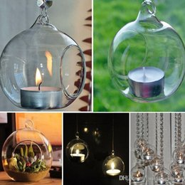 Wedding decor hanging candle holders online shopping - Crystal Glass Hanging Candle Holder Candlestick Home Wedding Party Dinner Decor round glass air plant bubble crystal balls