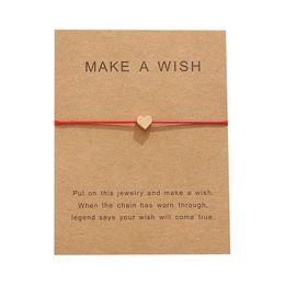 $enCountryForm.capitalKeyWord Australia - New Arrival Make A Wish Card Bracelets Fashion Red Rope Handmade Woven Bracelet Gold Plated Heart Charm Bracelet For Women Mens