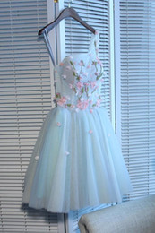 code apple Australia - Delicate Tulle A-Line One Shoulder Prom Dress with 3D Flowers Colored Beading Engagement Party Dress Code Lace Up Back Short Dress Formal