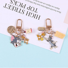 couple ring cat 2019 - Creative Cartoon Cat with Mouse Keychain For Women Men Charm Couple Key Chains Gifts Cute Backpack Pendant Key Ring Gift