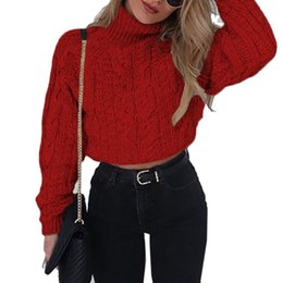 de9ab91ae1 Sexy Retro Twisted Turtleneck Crop Top Sweater Autumn Winter Women Thick  Long Sleeve Slim Short Pullovers Christmas Coat 6Q2177