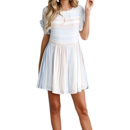 Girls Tassel Shirt Australia - Kawaii Girl A-line Striped Dress Women Sundress Female NEW O-neck Short Sleeve Summer Beach Dresses Boho Sweet Mini Dress GV957