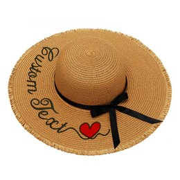 ff7d9bec Embroidery Personalized Custom LOGO Text Women Sun Tassel Hat Large Brim  Straw Hat Outdoor Beach hat Summer Cap