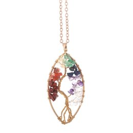 $enCountryForm.capitalKeyWord Australia - Tree of Life Necklace Pendant Colorful Life Tree Irregular Necklaces Creative Women Sweater Chain Natural Stone Crystal Turquoise Jewelry
