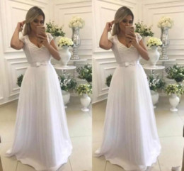 Ivory Ladies Short Lace Dresses Australia - 2019 White Lace Short Sleeves A-Line Prom Dresses Beaded Tulle Skirt Sweep Train Long Ladies Evening Party Gowns Formal Women Vestidos