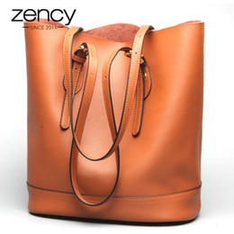 $enCountryForm.capitalKeyWord Australia - Zency Large Capacity Women Shoulder Bags 100% Genuine Leather Handbag Brown Vintage Shopping Bag Super Quality Casual Tote Purse Y19062003