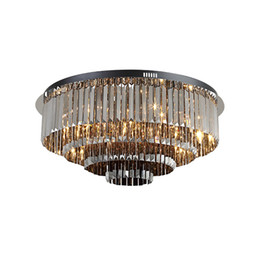 $enCountryForm.capitalKeyWord Australia - New dimmable luxury smoky grey ceiling crystal chandelier lighting black plate flush mount round chandeliers light for living room bedroom
