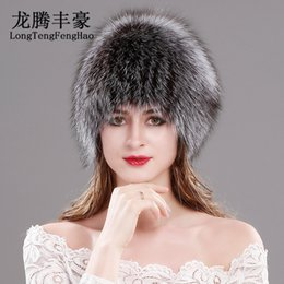 74596c1a6f5 Natural Fox Fur Hats for Women Real Fur Beanies Cap Knitted Hats Russian  Winter Thick Warm Fashion Caps Silver Fox Fur Hats lady D19011503