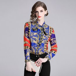 c57aac32d436c2 New Style Runway Women's Long Sleeve Floral Printed Bow Tie Neck Shirts  Lady Casual Office Button Front Down Shirt Blouse Tops