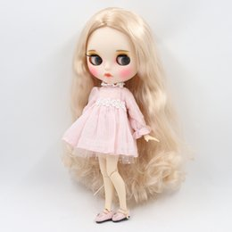 neo toys Australia - wholesale Blyth ICY Doll joint body Wild light golden curly hair matte face with eyebrows Lip gloss Neo bjd doll Gift toy